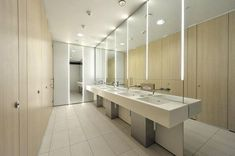Hammersmith Grove - ladies washrooms - designed for a development that is intended to encourage those working in busy urban areas to cycle to the office. Ada Bathroom, Steam Showers Bathroom, Bathroom Toilets, Washroom, Modern Bathroom, Bathroom Grey, Master Bathroom, Bathroom Ideas, Contemporary Bathroom Lighting