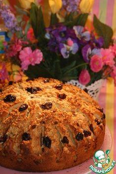 Воздушный пирог с яблоками, клюквой и орехами