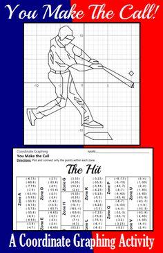 The Hit - A Baseball Coordinate Graphing Activity Secondary Math, Secondary Activities, Graphing Activities, Thing 1, School Fun, School Stuff, High School, Math Stations, Math Teacher
