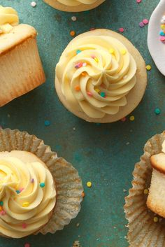 Coconut Cupcakes with Mango-Pineapple Frosting: King Arthur Flour Cupcake Flavors, Gourmet Cupcakes, Baking Cupcakes, Cupcake Recipes, Baking Recipes, Flavored Cupcakes, Mini Desserts, Tropical Desserts, Pineapple Frosting