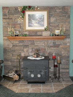 pretty wood stove hearth and wall--miss the old Schroder Wood Stove Wall, Wood Stove Surround, Wood Stove Hearth, Hearth Tiles, Hearth Stone, Wood Burner, Brick Fireplace Remodel, Cabin Fireplace, Brick Fireplace Makeover