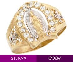 Men's Jewelry 2 Tone Gold Our Lady of Guadalupe Religious Horseshoe CZ Mens Ring >>> See this great product. Cross Jewelry, Cute Jewelry, Women Jewelry, Men's Jewelry, Mens Pinky Ring, Pinky Rings, Tree Necklace, Our Lady, Gift For Lover