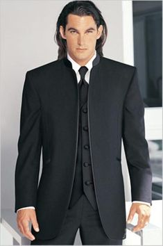 Fitted Slim Fitc Cut Mirage Tuxedo Satin Mandarin Collar (Solid Black ) No Buttons $299 http://goo.gl/P4rzbq