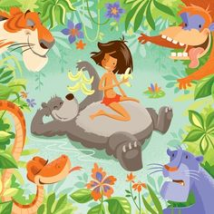 Jungle Book Print by artist?     love it. Mowgli, mancub, Baloo, bear, Shere Khan, tiger, Kaa, snake, Bagheera, panther, King Louie, orangutan, Disney version of Rudyard Kipling's The Jungle Book