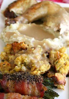 'Turkey Day Dinner for Two' - Using 'NanaBread's Sage & Butter-Basted Chicken' in place of turkey, cornbread stuffing, mashed potatoes w/yogurt, green bean-bacon bundles -- Inside NanaBread's Head
