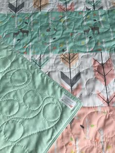 Baby Quilt Girl Woodland Birch Deer Forest Birch by CoolSpool