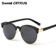 Vintage Round CatEye Sunglasses Women 2017 Luxury Brand Fashion Retro Circle Designer Sun Glasses Men lunette de soleil femme