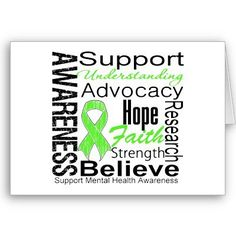 Mental health awareness ribbon and word cloud; Bipolar disorder awareness