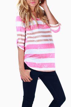 Pink Mocha Striped Maternity Top #maternity #fashion