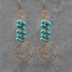 Turquoise scroll copper wire earrings handmade ani designs