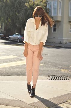 white loose top and light peach pants