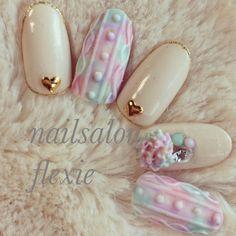 : Sweater and Stud nails! Toe Nail Art, Toe Nails, Pink Nails, Asian Nails, Kawaii Nails, Japanese Nails, Oval Nails, Simple Nails, Nail Arts