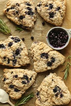 30 Minute Rosemary Blueberry Scones! Made with spelt flour, coconut oil, and fresh rosemary! #vegan #breakfast #scone #rosemary #blueberry