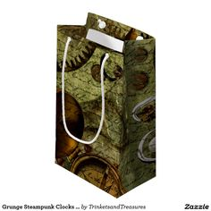 Grunge Steampunk Clocks and Gears Small Gift Bag http://www.zazzle.com/grunge_steampunk_clocks_and_gears_small_gift_bag-256798454938604792?CMPN=shareicon&lang=en&social=true&view=113498328548307011&rf=238588924226571373