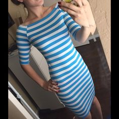 Striped midi dress Very comfy stretchy dress. New with tags Dresses Midi