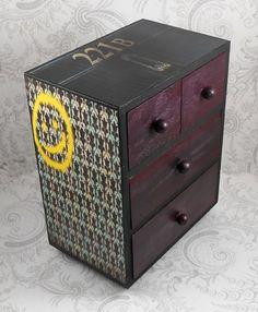 Items similar to Custom Sherlock Holmes Black and Dark Purple Stash Jewelry Box on Etsy Girls Jewelry, Jewelry Box, Diy Jewelry, Geek Jewelry, Sherlock Crafts, Sherlock Decor, Geek Decor, Fandom Jewelry, Nerd Crafts