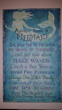 This Fun Mermaid Advice Sign is printed on canvas over a wood frame Measurements: 16 height x 10 width x 1 depth Mermaid Bedroom, Mermaid Nursery Theme, Mermaid Bathroom Decor, Just In Case, Just For You, Mermaid Art, Mermaid Canvas, Mermaid Sign, Mermaid Crafts