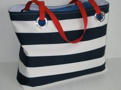 Nautical Beach Tote Bag Navy and White Vacation by maggieanns