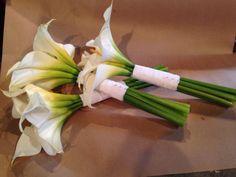 White Mini Calla Bridesmaid Bouquets for Brittany