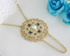 Long Gold Filigree Flower Necklace - Crystals #jewelry #necklace @EtsyMktgTool http://etsy.me/2fZBQqZ