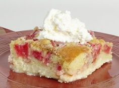 Rhubarb Custard Cake Recipe -used 'Basic Yellow Cake' recipe for cake. *I like rubharb tart -I did not use much sugar on the rubharb and no cinnamon Rhubarb Custard Cake Recipe, Rhubarb Pudding Cake, Rhubarb And Custard, Rhubarb Cake, Rhubarb Desserts, Just Desserts, Delicious Desserts, Spring Desserts, Spring Recipes