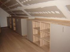 storage for angled ceilings Attic Bedroom Designs, Attic Bedrooms, Upstairs Bedroom, Attic Design, Attic Bedroom Ideas Angled Ceilings, Loft Storage, Bedroom Storage, Eaves Storage, Attic Renovation