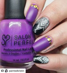 So chic in bold colors - love this stamped mani by the lovely  @paintedkristin ・・・ I received some inspiration for this design from @hottmama_of4 after she made a comment about loving purple polish.  It's really cool where inspiration can come from.  @salonperfect A Royal Affair is a bright darker purple. Stamped with @joliepolish white stamping polish using @uberchicbeauty plate 7-2. All topped with @opi_products matte top coat. ❤  #nails #polish #nailpolish #nailart #mattenails #nailsta...