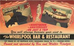 Linen Postcard of The Whirlpool Bar & Restaurant, Niagara Falls, NY. Deco