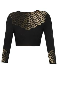 Namrata Joshipura presents Black and gold sequins embellished civil lines blouse available only at Pernia's Pop Up Shop. Saree Blouse Designs, Blouse Patterns, Blouse Styles, Indian Attire, Indian Outfits, Salwar Kameez, Kurti, Spring Blouses, Indian Blouse