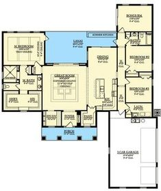 One Floor Country House Plan - 82208KA   1st Floor Master Suite, Bonus Room, Butler Walk-in Pantry, CAD Available, Corner Lot, Country, Den-Office-Library-Study, Northwest, PDF, Split Bedrooms   Architectural Designs