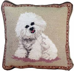 "Traditional needlepoint always makes a wonderful design statement. These charming 10"" sized dog pillows are just the right size to make a subtle statement. We know dog lovers, and they can't resist pl"