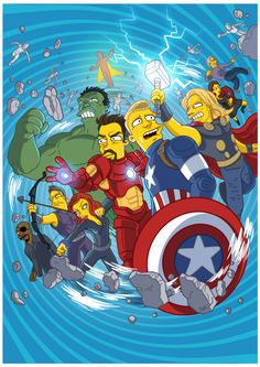 Avengers: Age of Ultron movie poster / Simpsonizado por ADN
