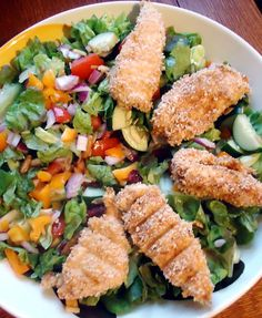 Crispy Chicken Salad with Honey Mustard Dressing  on MyRecipeMagic.com