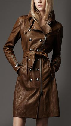 yeah...ZIP LEATHER TRENCH COAT