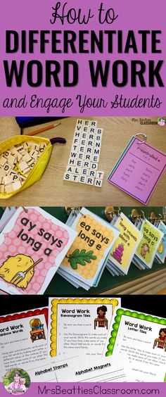 Paid resource from TpT. Includes resources/ideas for hands-on, engaging word study centers. Word Work Stations, Word Work Centers, Reading Centers, Reading Stations, Writing Centers, Writing Workshop, Word Work Activities, Spelling Activities, Literacy Activities