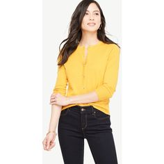 Ann Taylor 3/4 Sleeve Ann Cardigan ($70) ❤ liked on Polyvore featuring tops, cardigans, vibrant mango, yellow knit cardigan, three quarter sleeve cardigan, ann taylor cardigan, crew neck cardigan and yellow top