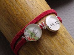 Date Map Bracelet by sherrytruitt on etsy. interesting way to thread the cabs/settings.