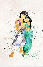 Aladdin and jasmine watercolor