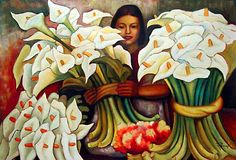 Flower seller, by  Diego Rivera (Mexican, 1886-1957).                                                                                                                                                                                 Mais