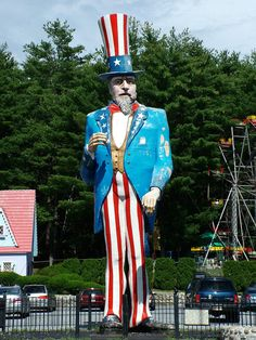 Largest Uncle Sam is located at the Magic Forest in Lake George, NY Uncle Sam is 38 feet tall and formerly stood at the Danbury Fairgrounds during the State Fair n 1981, but now has a permanent home since 1982 in the Magic Forest parking lot.