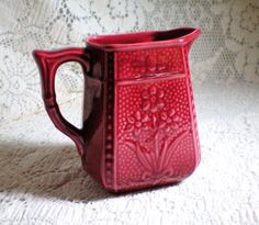 Vintage Red Jonquil Floral Majolica Cream Pitcher