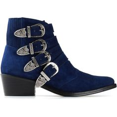Toga Pulla buckled ankle boots (£365) ❤ liked on Polyvore featuring shoes, boots, ankle booties, ankle boots, blue, toga, buckle boots, leather bootie, buckle bootie and buckle booties