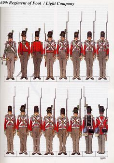 British; 69th (South Lincolnshire) Regiment of Foot, 2nd Battalion, Light Company, 1815.(1st Battalion was in India & SE Asia from 1805).