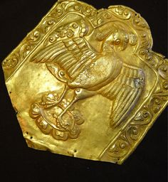 Gold plaque of a peacock on lotus flower. Tibetan Empire 7th-9th c AD. Private collection