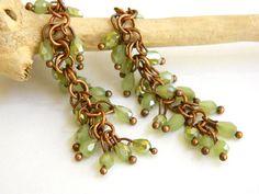 Crystal Dangle Earrings, Green Earrings for Women, Copper Earrings, Long Earrings, Chain Earrings, Handcrafted Jewelry, Boho Earrings #handmade #jewelry