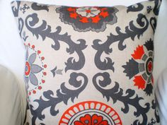 Throw Pillows Decorative Pillows Accent Pillows Cushion Covers Gray Orange Natural Rosa - Set of Two 18 x 18