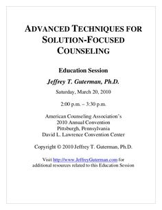 Advanced Techniques for Solution-Focused Counseling