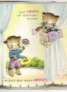 1940s Kitten Ballerinas Stage Play Birthday Card ~ 2 of 3