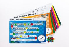 Race Car Rally Division Board Game by Dr Paul Swan. Learn division while playing a fun board game Math Manipulatives, 9 Game, Fun Board Games, Teacher Notes, Division, Rally, Swan, Race Cars, Classroom