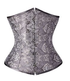 X Classical Black/White/Silver Pattern Lace up Waist Training Corsets and Bustiers Gothic Cincher Size S-2XL Alternative Measures